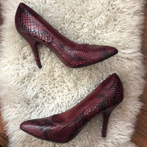Shoes - Red snake print shoes size 6